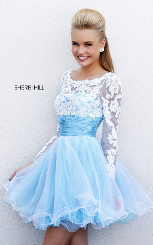 2015 a-line sherri hill 21234 white blue short prom dress