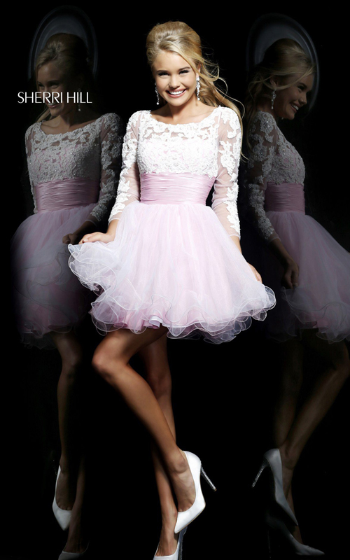 a-line sherri hill 21234 white pink prom dress 2015