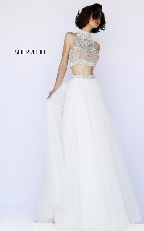 beaded two-piece prom dress ivory sherri hill 11220