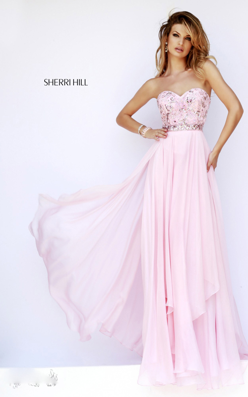 chiffon strapless 1943 sherri hill pink prom dress