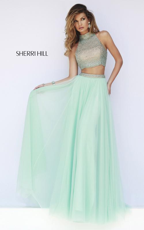 mint two-piece prom gown 2015 sherri hill 11220
