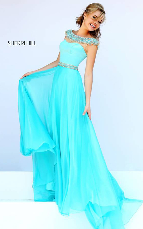 Aqua Sherri Hill 32220 Flowing Evening Gown