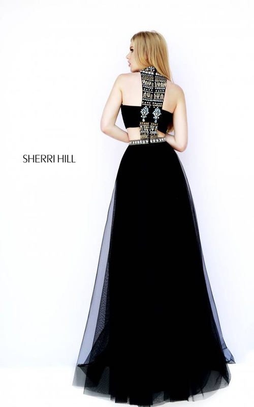 Black Sherri Hill 11247 Halter Neckline Evening Dress-1