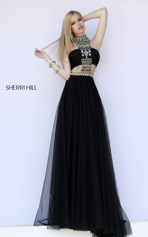 Black Sherri Hill 11247 Halter Neckline Evening Dress