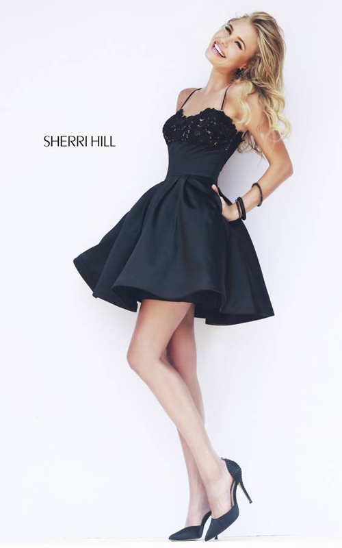 Black Sherri Hill 32099 Short Mini Dress