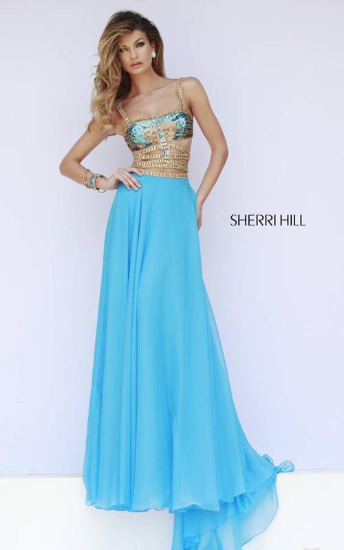 Blue Sexy Beads Prom Dress 2015 Sherri Hill 32134
