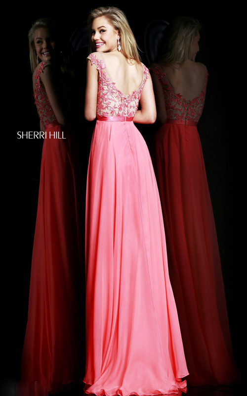 Chic Sherri Hill 11151 Floral Prom Dress Coral-1