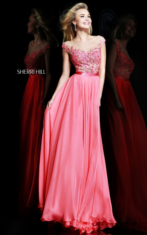 Chic Sherri Hill 11151 Floral Prom Dress Coral