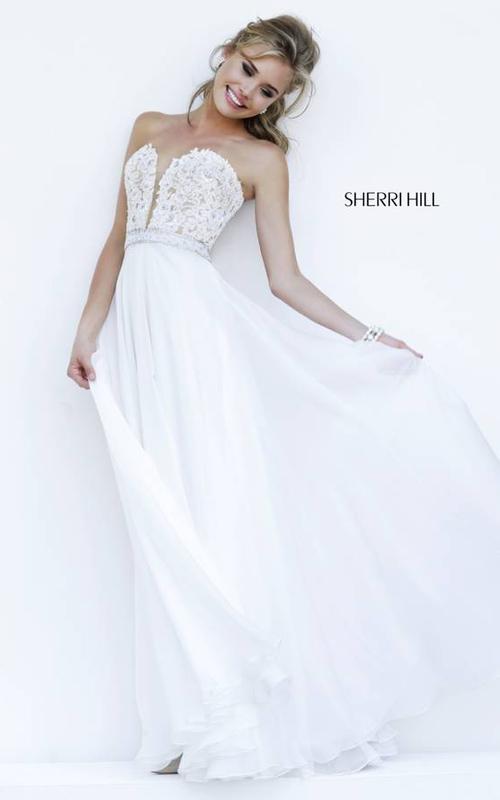 Chiffon Lace Sherri Hill 32180 Ivory Prom Dress
