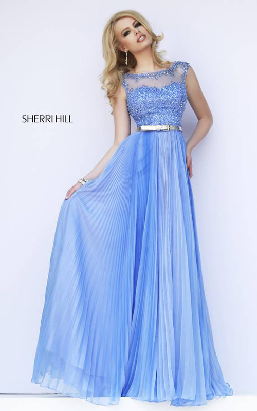 Chiffon Sherri Hill 32131 Periwinkle Prom Dress