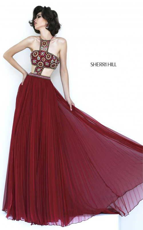 Cinnamon Sherri Hill 11206 Halter Neckline Evening Gown