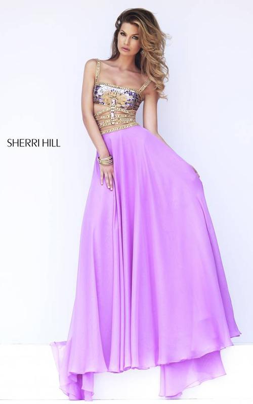 Floor-length Sherri Hill 32134 Orchid Party Dress
