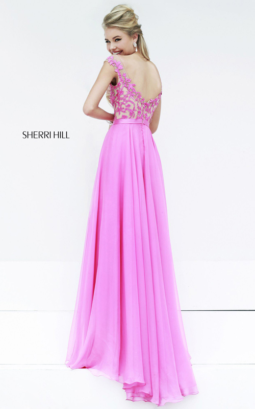 Floral Sherri Hill 11151 Hot Pink Prom Dress-1