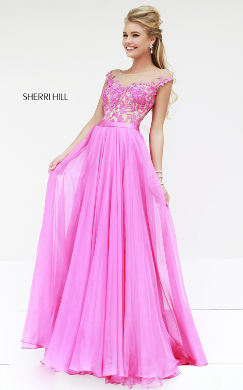 Floral Sherri Hill 11151 Hot Pink Prom Dress