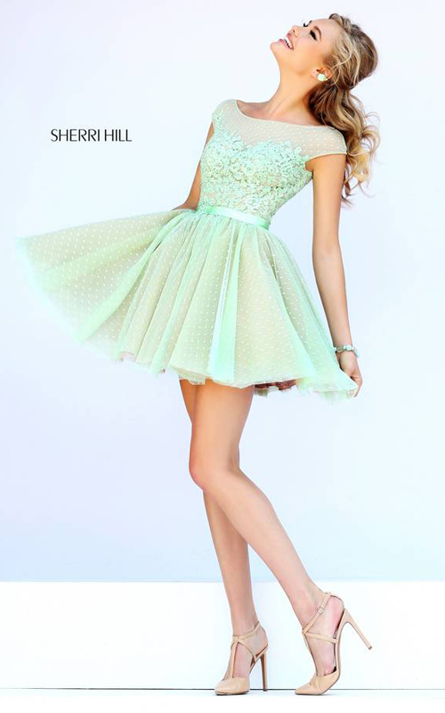Green Sherri Hill 11267 Polka Dot Floral Mini Dress