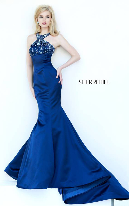 Halter Navy Sherri Hill 32153 Mermaid Dress Chic