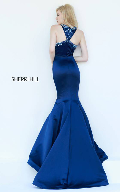 Halter Navy Sherri Hill 32153 Mermaid Dress Chic_01