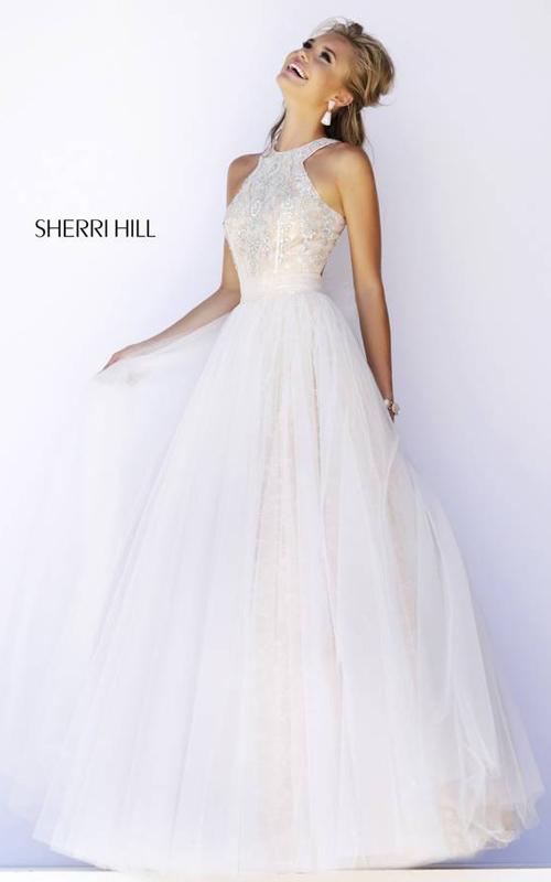 Halter Sherri Hill 32218 Ivory Evening Dress