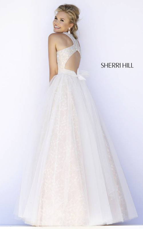Halter Sherri Hill 32218 Ivory Evening Dress_01