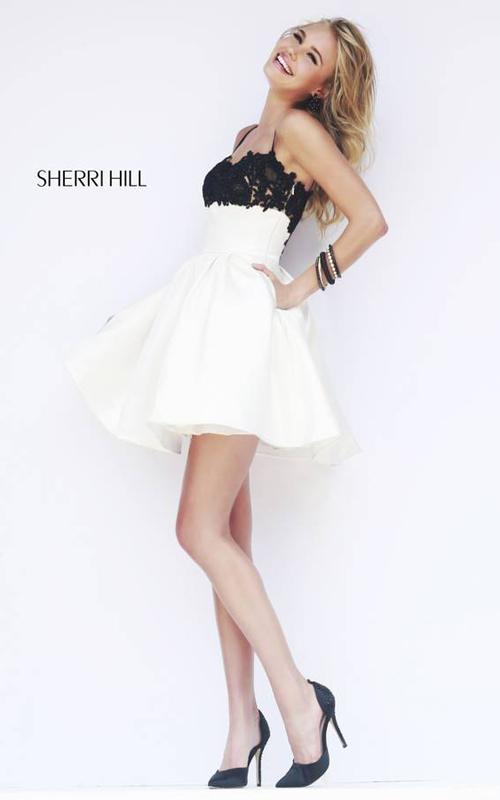 Ivory Sherri Hill 32099 Short Mini Dress