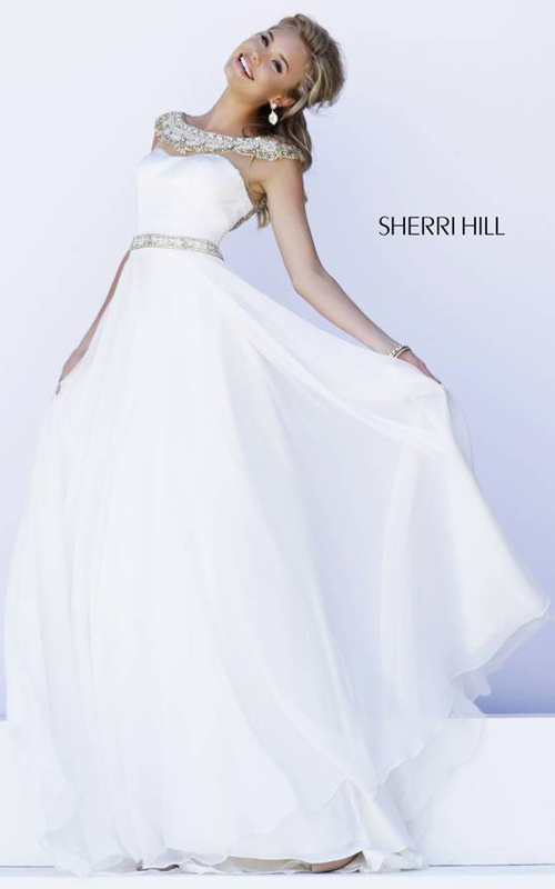 Ivory Sherri Hill 32220 Flowing Evening Gown