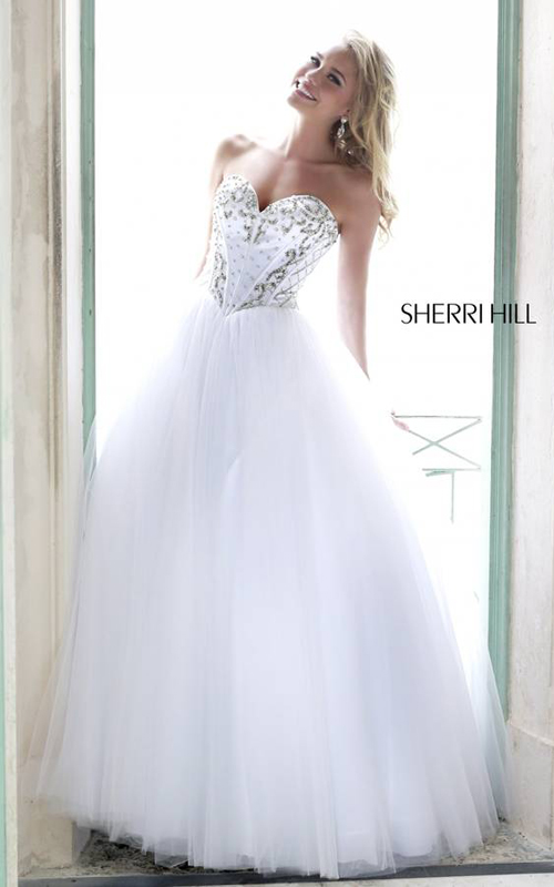 Ivory Strapless Sherri Hill 32078 Party Dress