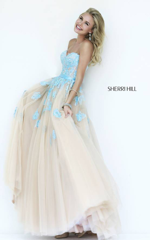 Light Blue Nude Sherri Hill 11200 Evening Gown
