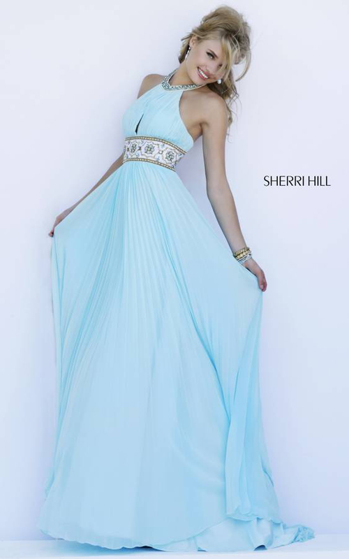 Light Blue Sherri Hill 11251 Pleated Skirt Gown