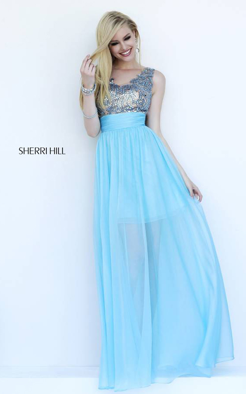 Light Blue Sherri Hill 1945 Evening Dress