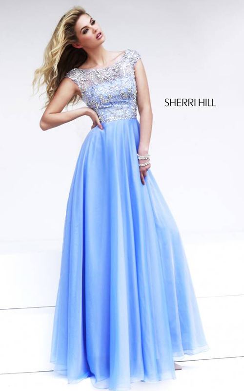 Light Blue Sherri Hill 32017 A Line Gown