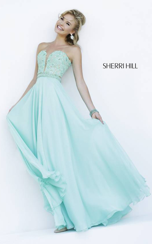 Light Green Sherri Hill 32180 Strapless Party Dress