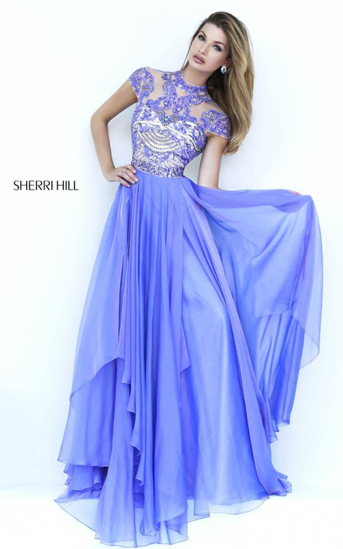 Lilac Sherri Hill 1933 Cap Sleeves Gown