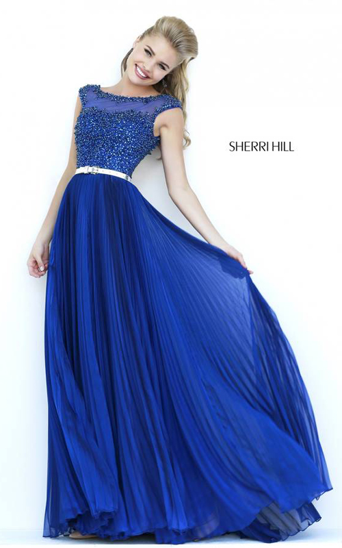 Navy Sherri Hill 32131 Beads Prom Gown 2015