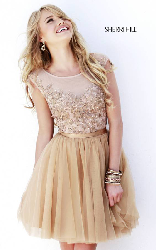 Nude Sherri Hill 11171 Short Cocktail Dress