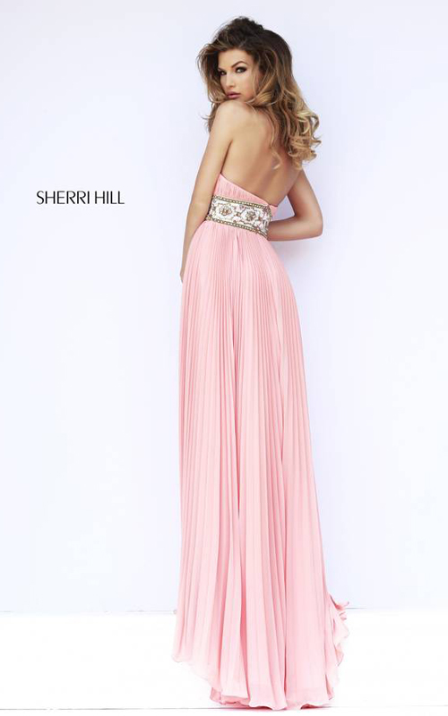 Peach Sherri Hill 11251 Pleated Skirt Gown-1