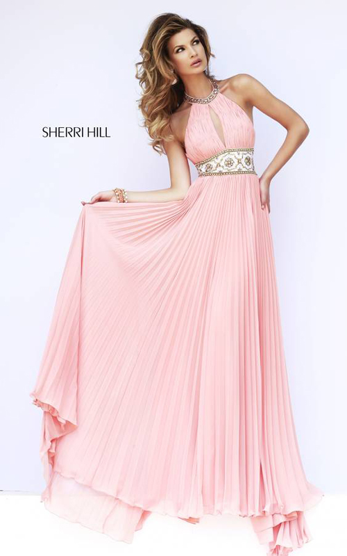 Peach Sherri Hill 11251 Pleated Skirt Gown