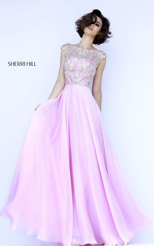 Pink Sherri Hill 32017 A Line Gown