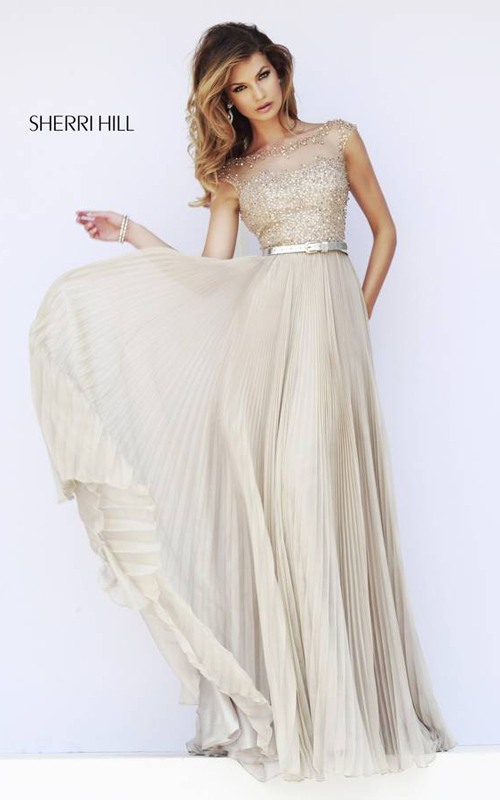 Pleated Sherri Hill 32131 Nude Evening Gown