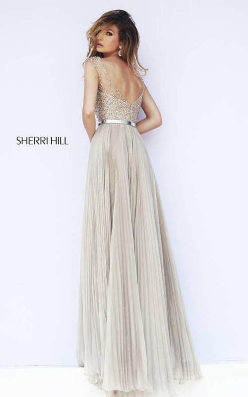 Pleated Sherri Hill 32131 Nude Evening Gown_01