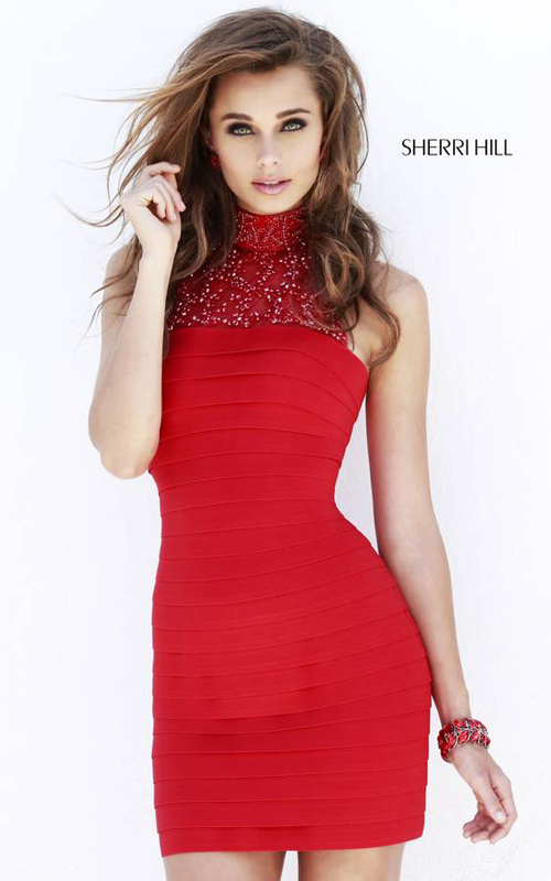 Red Sherri Hill 32055 Halter Neckline Mini Dress
