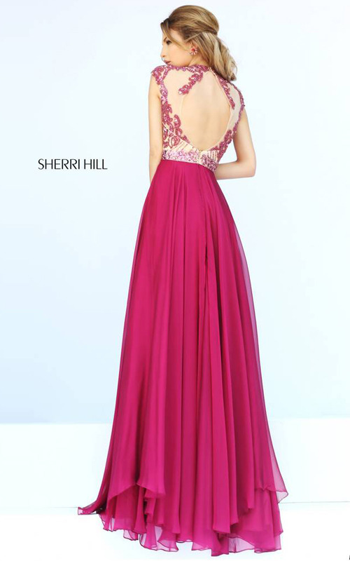 Ruby Sherri Hill 1933 Cap Sleeves Gown-1