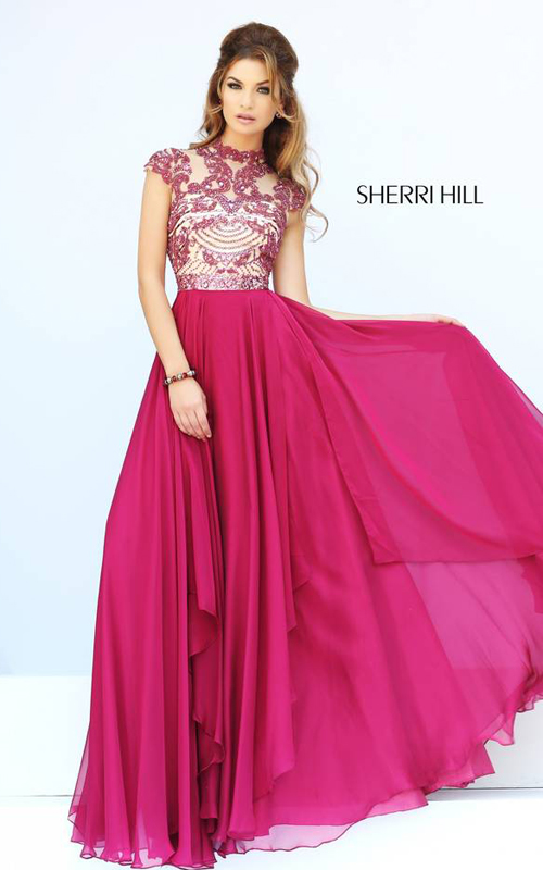 Ruby Sherri Hill 1933 Cap Sleeves Gown