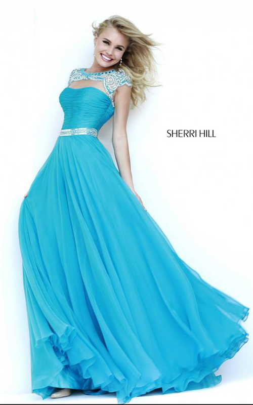 Sherri Hill 11181 Turquoise Long Ball Gown