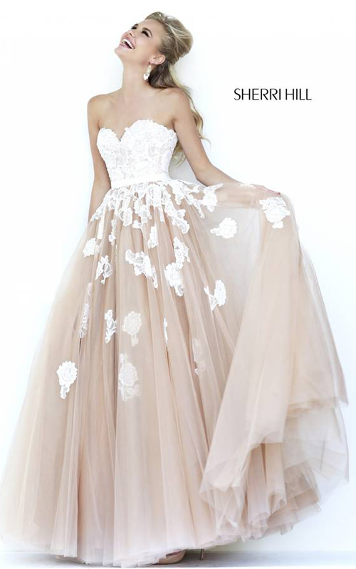 Sherri Hill 11200 Ivory Nude Evening Gown