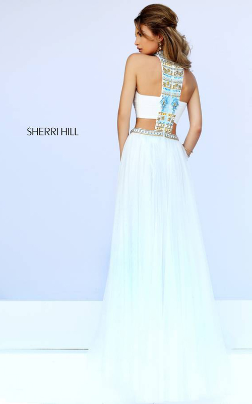 Sherri Hill 11247 Ivory Halter Neckline Evening Dress-1