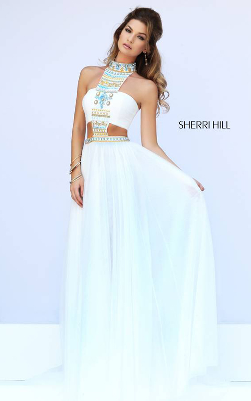Sherri Hill 11247 Ivory Halter Neckline Evening Dress
