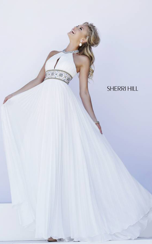Sherri Hill 11251 White Pleated Skirt Gown