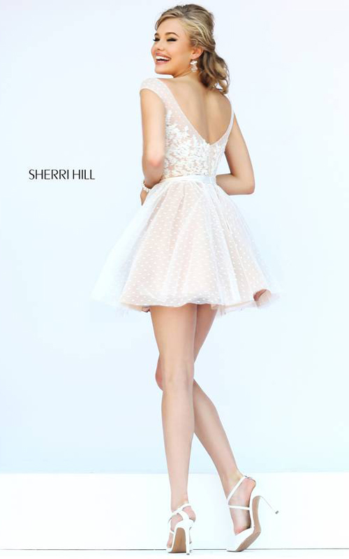 Sherri Hill 11267 Ivory Polka Dot Floral Mini Dress-1