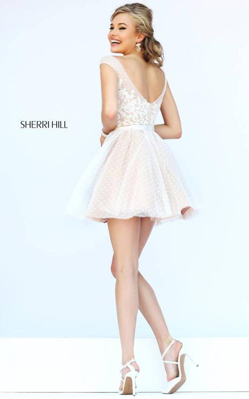 Sherri Hill 11267 Ivory Polka Dot Floral Mini Dress-1