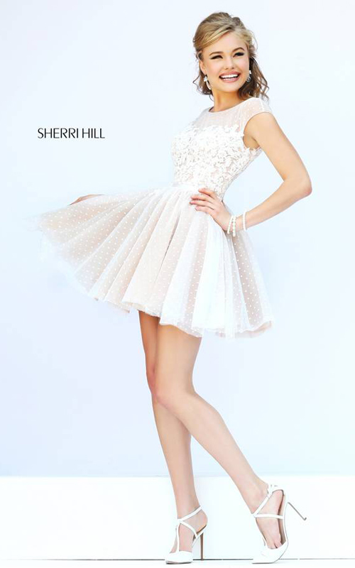 Sherri Hill 11267 Ivory Polka Dot Floral Mini Dress